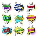 Colección determinada de los iconos de Art Style Sound Expression Text del estallido del discurso de la burbuja cómica de la char Imágenes de archivo libres de regalías