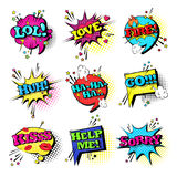 Colección determinada de los iconos de Art Style Sound Expression Text del estallido del discurso de la burbuja cómica de la char Imagen de archivo libre de regalías