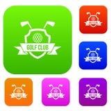 Colección determinada del color del emblema del club de golf ilustración del vector