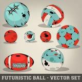 Colección determinada del vector futurista de la bola Imágenes de archivo libres de regalías