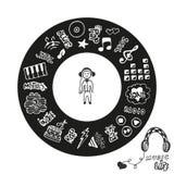 Colección dibujada mano con garabatos de los estilos de la música Iconos de la música fijados en formas del círculo Logotipo o av Foto de archivo libre de regalías
