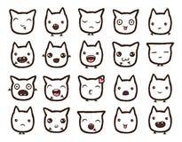 Colección dibujada mano de los emoticons del vector Imagenes de archivo