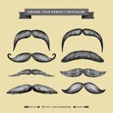 Colección dibujada mano del bigote en el backgr beige Imagen de archivo libre de regalías