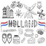 Colección dibujada mano del garabato de iconos de Holanda Elementos holandeses de la cultura para el diseño Ejemplo del vector co Imagen de archivo