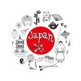 Colección dibujada mano del garabato de iconos de Japón Elementos de la cultura de Japón para el diseño Ilustración del vector Fotografía de archivo libre de regalías