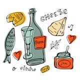 Colección dibujada mano del vino Fotos de archivo