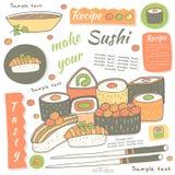 Colección dibujada mano linda del sushi del garabato Fotografía de archivo