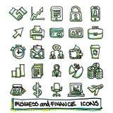 colección dibujada 25 manos de los iconos del negocio y de las finanzas Imagen de archivo