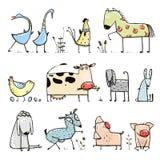 Colección divertida de los animales domésticos de la granja de la historieta para Foto de archivo