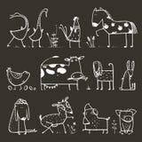 Colección divertida de los animales domésticos de la granja de la historieta para Foto de archivo libre de regalías
