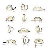 Colección divertida de los gatos para su diseño Imagenes de archivo