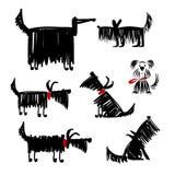 Colección divertida de los perros negros para su diseño Imagen de archivo libre de regalías