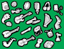 Colección Doodled de los instrumentos musicales Foto de archivo libre de regalías