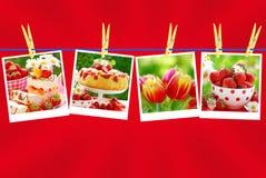 Colección dulce del amor en fondo rojo Foto de archivo
