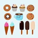 Colección dulce del vector de la comida Fotografía de archivo libre de regalías
