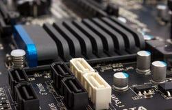 Colección electrónica - componentes digitales en mainboard del ordenador Fotos de archivo