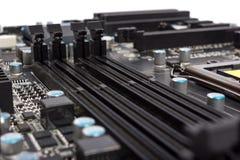 Colección electrónica - componentes digitales en motherboa del ordenador Foto de archivo libre de regalías