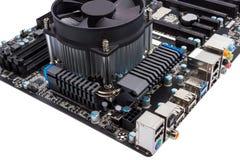Colección electrónica - placa madre del ordenador con el refrigerador de la CPU Imagenes de archivo