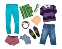 Colección elegante de la ropa aislada en blanco Imagen de archivo