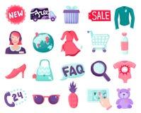 Colección en línea de los artículos de la tienda stock de ilustración