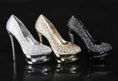 Colección encrusted cristales de los zapatos fotografía de archivo libre de regalías
