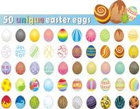 Colección enorme de 50 huevos de Pascua únicos Foto de archivo libre de regalías