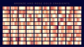 Colección enorme de pendientes color de rosa del oro o del cobre ilustración del vector