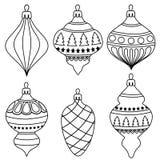 Colección exhausta de las bolas de la Navidad del esquema de la mano para colorear ilustración del vector