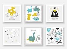Colección exhausta de los dinosaurios de la mano del garabato Tarjeta, postales, imágenes de la pared con el huevo del período ju libre illustration