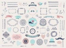 Colección exhausta del amor del garabato de la mano del vector, iconos incompletos del ejemplo Sistema grande para el día de la t libre illustration