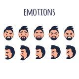 Colección facial masculina del vector de las emociones en blanco libre illustration