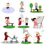 Colección feliz de la historieta de los niños Conjunto de ilustraciones del vector libre illustration