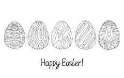 Colección feliz del bosquejo del huevo de Pascua Negro en el fondo blanco Slyle del diseño moderno libre illustration