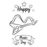 Colección feliz del estilo de la tarjeta de felicitación del día de la música libre illustration