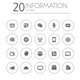 Colección fina simple de los iconos de la información en blanco Imagenes de archivo