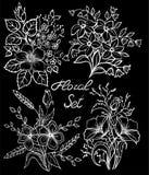 Colección floral blanco y negro monocromática hermosa con las hojas y las flores fijadas ilustración del vector
