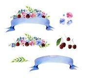 Colección floral colorida con las flores multicoloras, hojas, cereza, ramas, bayas, cintas Imagen de archivo libre de regalías