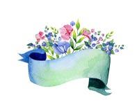 Colección floral colorida con las flores multicoloras, hojas, ramas, bayas, cintas Foto de archivo