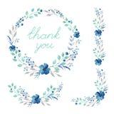 Colección floral del marco Sistema de flores retras lindas de la acuarela Imagenes de archivo