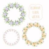 Colección floral del marco Sistema de la guirnalda floral elegante Diseño para casarse invitaciones y tarjetas de cumpleaños Foto de archivo