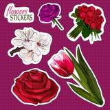 Colección floreciente de las flores Imágenes de archivo libres de regalías