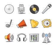 Colección fresca de los iconos de la música - conjunto 6 Foto de archivo