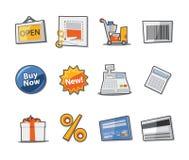 Colección fresca de los iconos de las compras - conjunto 10 Foto de archivo libre de regalías