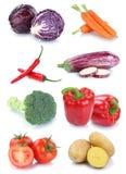 Colección fresca de los tomates de las patatas de las zanahorias de las verduras aislada Fotografía de archivo libre de regalías
