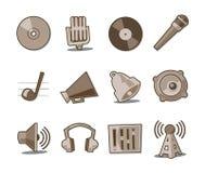 Colección fresca retra de los iconos de la música - conjunto 6 Imagen de archivo
