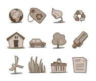 Colección fresca retra de los iconos verdes - conjunto 5 Foto de archivo