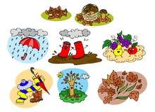 Colección gráfica de los elementos del otoño para los niños Imágenes de archivo libres de regalías