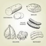Colección gráfica de salchichas, de skilandis, de biroldo, de Bratwurst, de doktorskaya y de salchichas de Francfort italianas Imagen de archivo libre de regalías