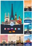 Colección grande de carteles del viaje a la Europa Schengen Ejemplo plano de Vecor libre illustration
