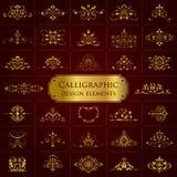 Colección grande de elementos caligráficos adornados de oro del diseño - sistema del vector Foto de archivo